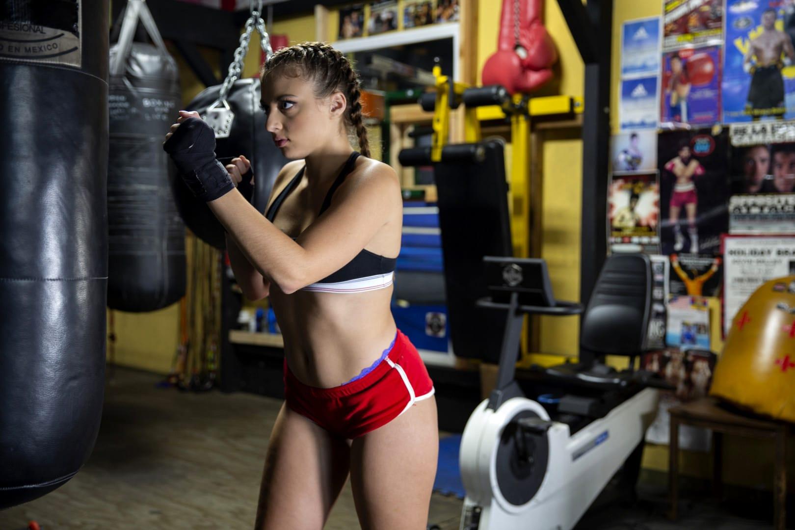 boxing girl practice